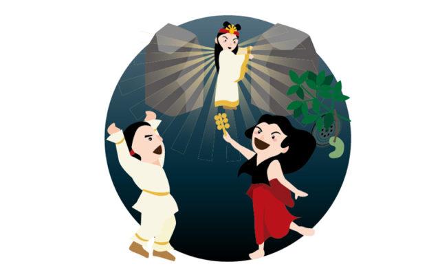 天岩戸神話のイラスト