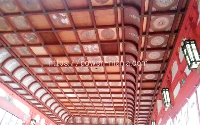 長田神社の拝殿の天井