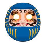 日本神社の青いだるまのイラスト