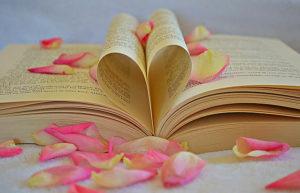恋愛のイメージ・ハート型にした本