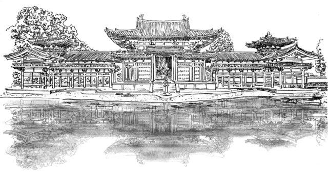 平等院鳳凰堂の白黒のイラスト