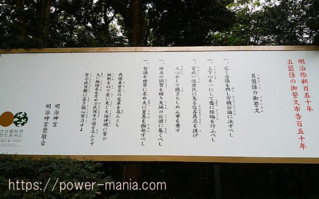 明治神宮の入口の五箇條の御誓文