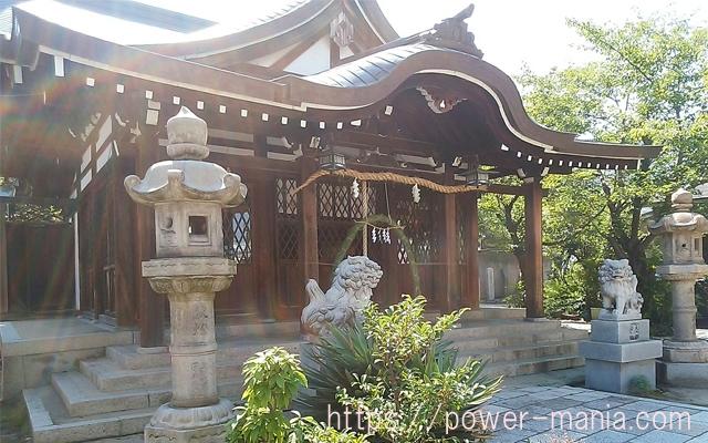 神社の拝殿に降り注ぐ光