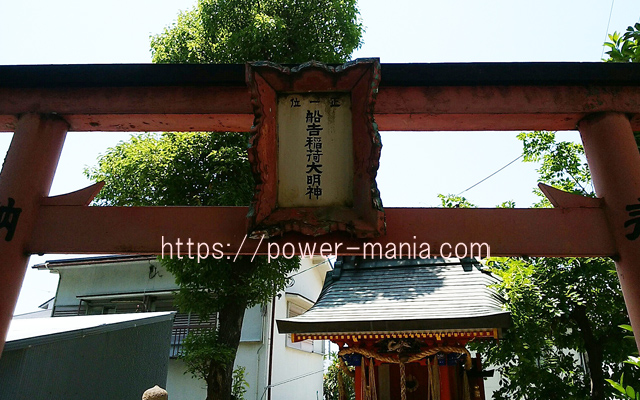 船寺神社の稲荷神社の鳥居の扁額