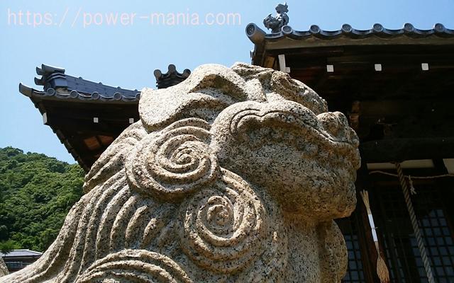 五宮神社の狛犬の顔アップ