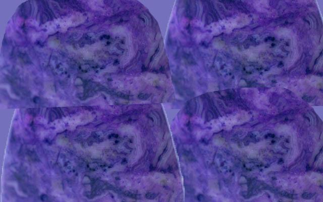 チャロアイトの原石の断面の写真を4枚並べたところ