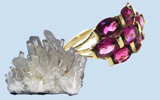 水晶とガーネット