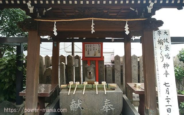 松尾稲荷神社のお狐さんの手水舎