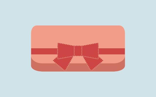 リボンが付いたピンクの財布のイラスト