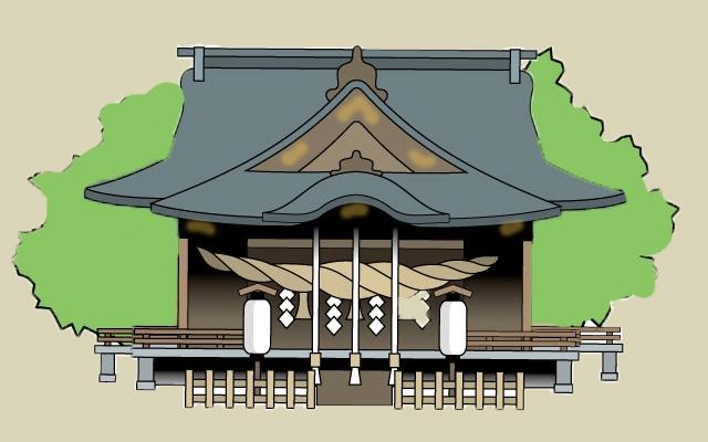 穴澤天神社の社殿のイメージイラスト