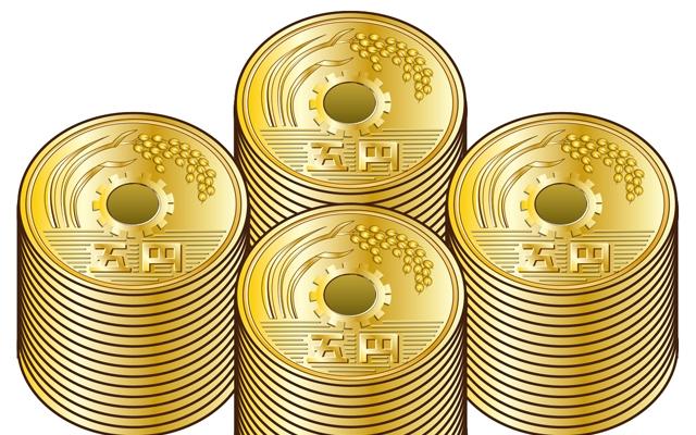 五円玉のイラスト・お賽銭のイメージ