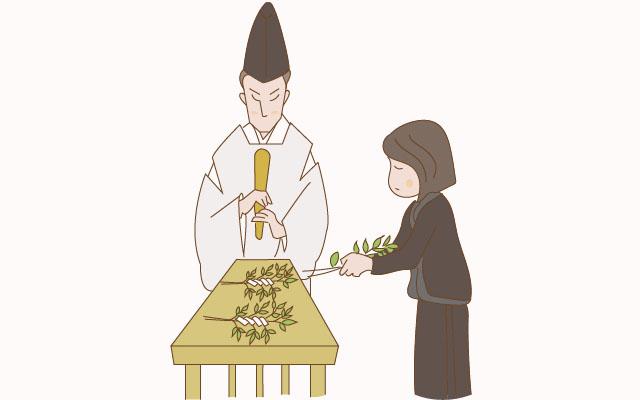 神社で玉串を捧げる様子のイラスト