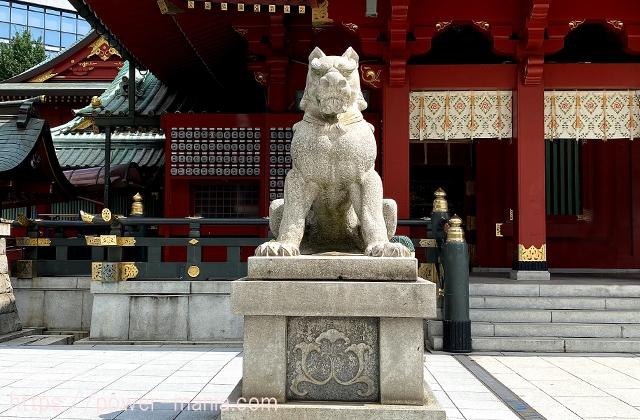 御社殿の前の左の狛犬
