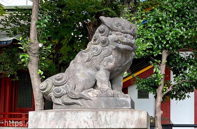 小船町八雲神社の左の狛犬