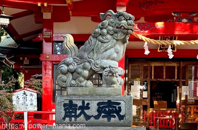 六所神社の左側の狛犬